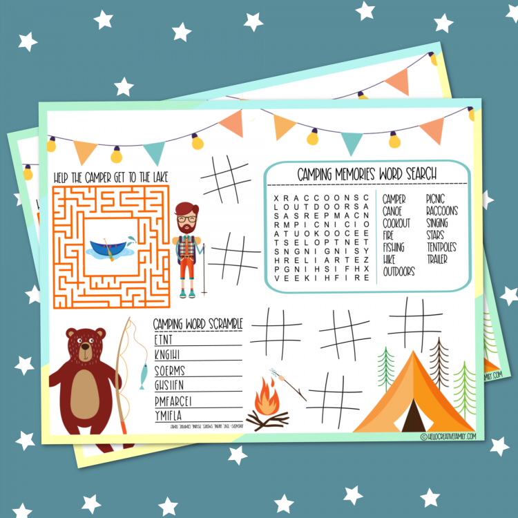 Heading camping? Grab this free camping activities printable placemat to keep the kids entertained at the campsite or on the road! This camping worksheet has a word scramble, maze, word search and tic-tac-toe! Also find 18 free camping and road trip themed printables! #Worksheets #Printables #Camping #kidsactivities #roadtrip #FreePrintable #ActivityPlacemat