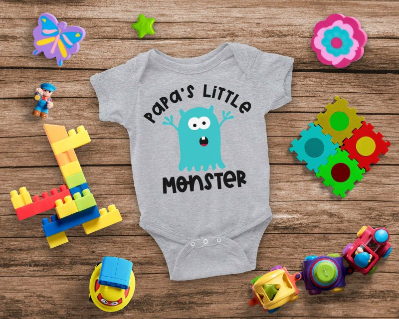 Papa's Little Monster Cut File- The perfect SVG bundle for creating handmade baby shower gifts! This cut file bundle comes with 5 different monsters along with the names of special family members for making onesies and baby shirts using your Cricut or Silhouette. #BabyGift #handmade #Cricut #Silhouette