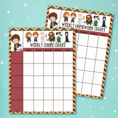 Free Harry Potter Printables- Homework and Chore Charts