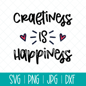Looking for a crafternoon project? Make a shirt, tote or mug with this Craftiness is Happiness SVG cut file and your Cricut or Silhouette cutting machine!