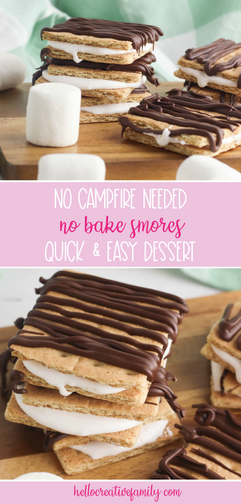 All the flavor of campfire smores without going camping! This No Bake Smores Recipe is a quick and easy, delicious dessert idea that can be made at home in minutes! Chocolate, graham cracker, marshmallow fluff! Who could ask for more? #smores #Dessert #EasyDessert #DessertIdea #CampingBirthday #homemade #Recipe #Marshmallow