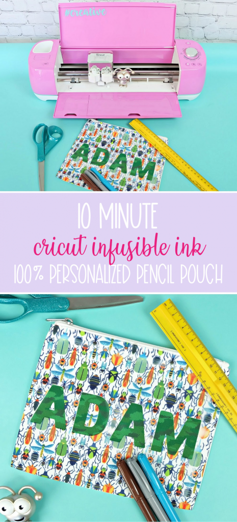 Send your kids back to school in style with a super fun 10 minute DIY project! This Cricut Infusible Ink Pencil Pouch is so easy to make with your Cricut Maker or Cricut Explore! Customize it with your child's favorite pattern of Infusible Ink and their name for a handmade back to school supply they'll love! #Cricut #InfusibleInk #BackToSchool #DIYBackToSchool #PencilPouch #handmade #DIYSchoolSupplies #CricutMade #CricutCreated #CricutCrafts