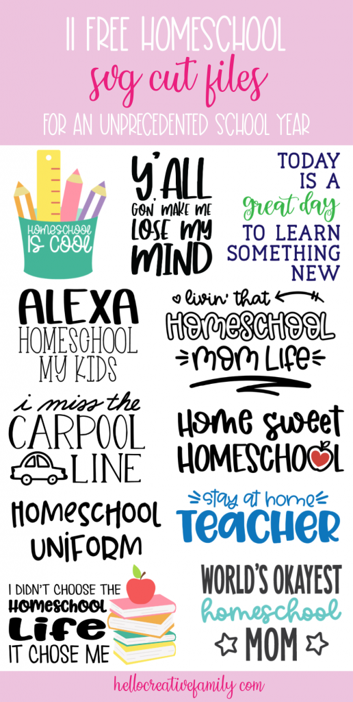Have homeschooling on the brain? You're not alone! We're sharing 11 Free Homeschool SVG Cut Files perfect for making homeschool crafts and gear using your Cricut or Silhouette! Great for back to school crafts! #Homeschool #homeschooling #Crafts #Cricut #Silhouette #CricutMade #CricutCrafts #CricutCreated #HTV #DIYShirts
