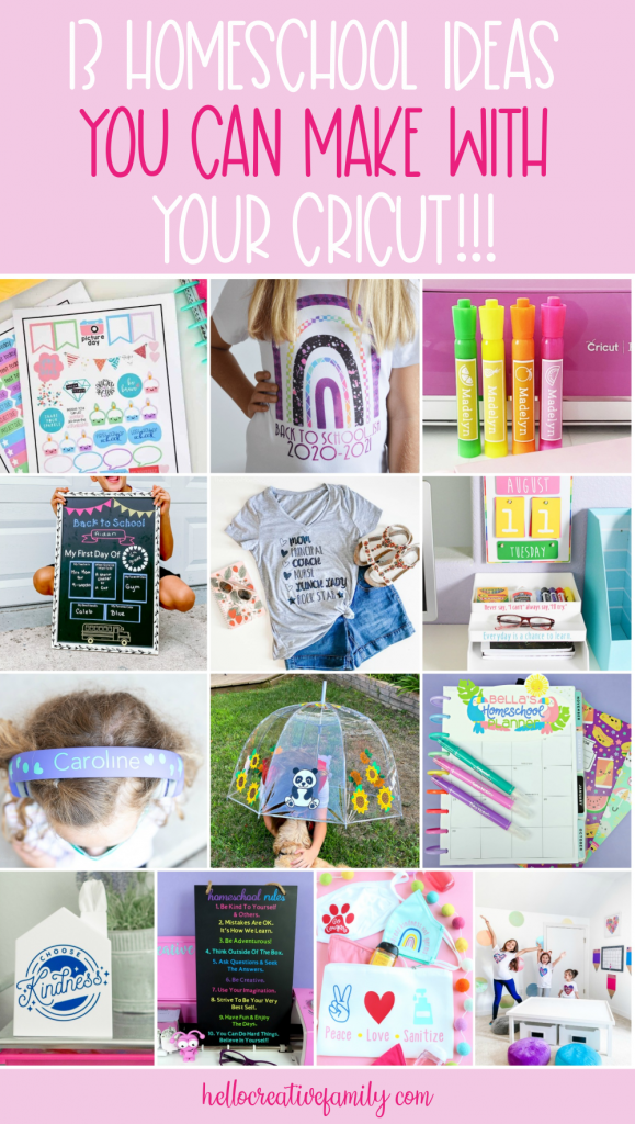 Homeschooling this year? We're sharing 13 homeschool supply ideas you can make with your Cricut Maker, Cricut Explore or Cricut Joy. Fun and easy personalized projects your kids will love! #BackToSchool #homeschool #Cricut #CricutMade #CricutCreated #CricutCrafts #DIY #Crafts