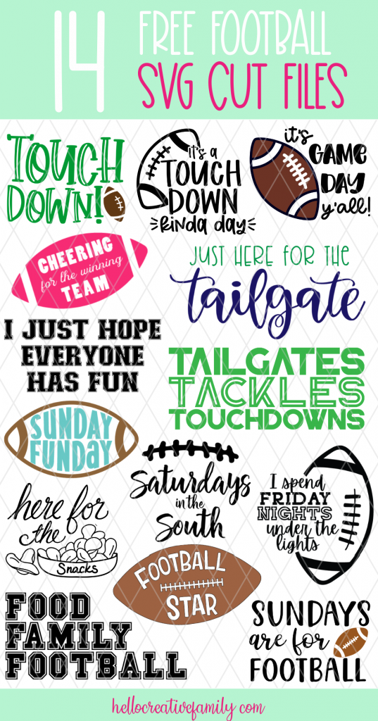 Whether you are into high school football, the NFL, CFL or only tune in for the Super Bowl, you are going to love these 14 free Football SVG Cut Files! Perfect for making shirts for game day using your Cricut or Silhouette! #CricutMaker #CricutMade #CricutCreated #Silhouette #SilhouetteCameo #Football #CutFiles #SVGFiles #FootballCrafts #Superbowl #HighSchoolFootball