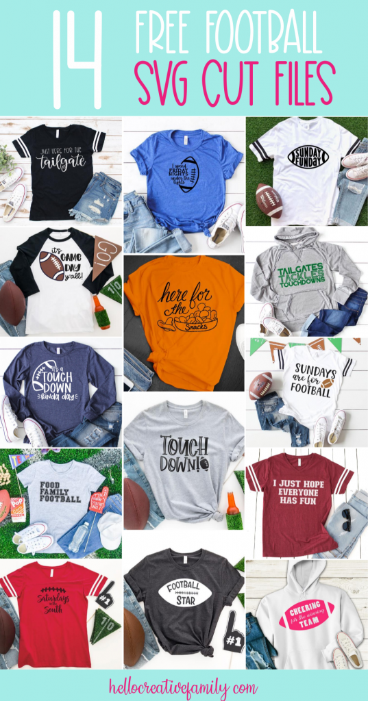 Whether you are into high school football, the NFL, CFL or only tune in for the Super Bowl, you are going to love these 14 free Football SVG Cut Files! Perfect for making shirts for game day using your Cricut or Silhouette! #CricutMaker #CricutMade #CricutCreated #Silhouette #SilhouetteCameo #Football #CutFiles #SVGFiles #FootballCrafts #Superbowl