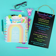 Personalized Cricut Homeschool Rules Sign and Planner Dashboards