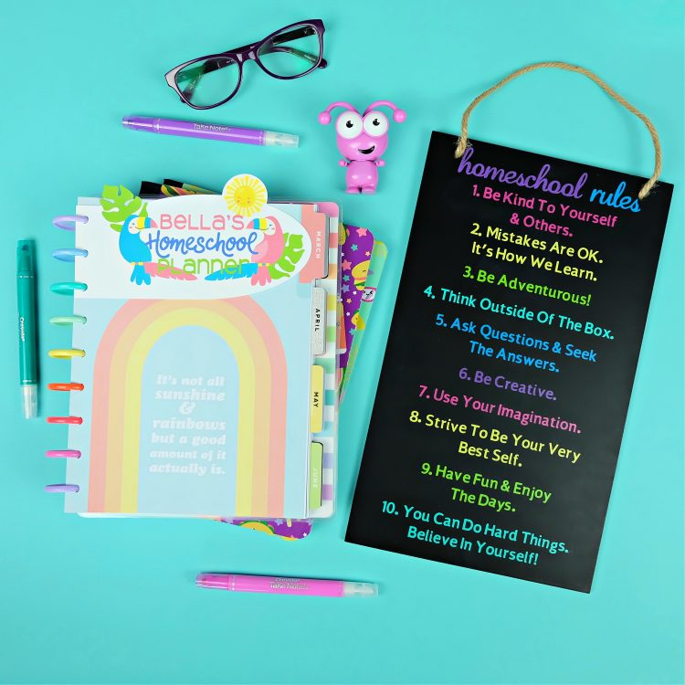 Homeschooling this year? We're sharing two Cricut homeschool projects you'll love to craft! A Homeschool Rules sign you can personalize with your family's own rules and a super cute homeschool planner dashboard. #CricutCreated #CricutMade #Homeschool #HomeschoolCrafts #Planner #PlannerAddict #happyplanner #studentplanner #teacherplanner