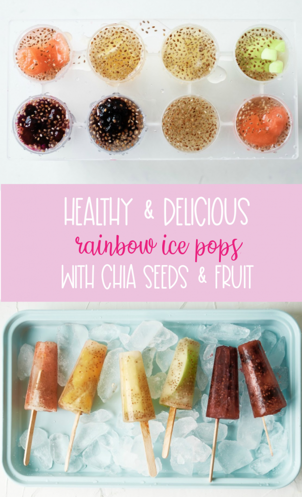Make ice pops at home that you can feel good about serving your kids with this delicious healthy rainbow popsicles recipe! Made with juice, chia seeds and fresh fruits the flavor and color combinations are endless with this easy treat! #icepops #chiaseeds #healthysnack #recipe #fruit #rainbow #rainbowfood #homemade