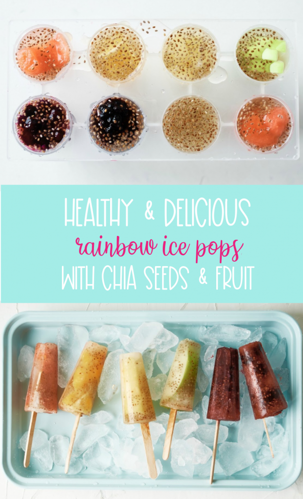 Make popsicles at home that you can feel good about serving your kids with this delicious healthy rainbow ice pops recipe! Made with juice, chia seeds and fresh fruits the flavor and color combinations are endless with this easy treat! #icepops #chiaseeds #healthysnack #recipe #fruit #rainbow #rainbowfood #homemade