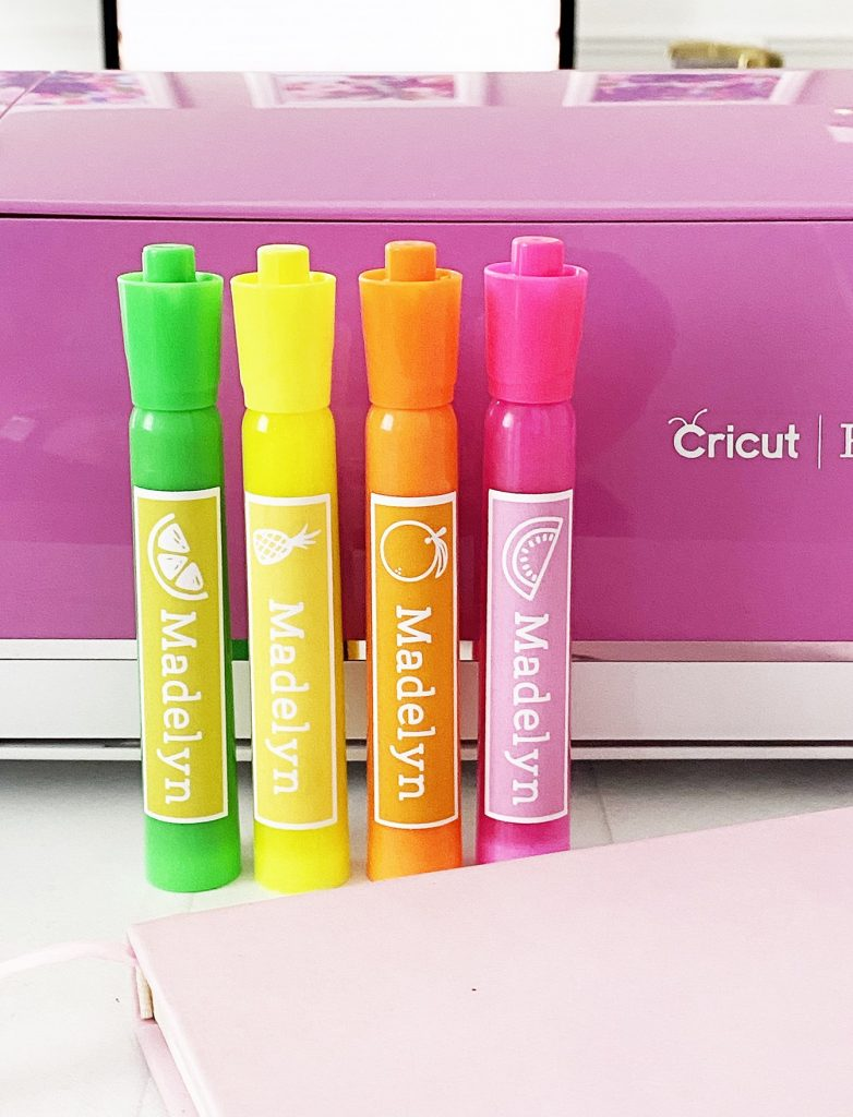 Highlighter Name Labels Made With The Cricut From Pineapple Paper Company