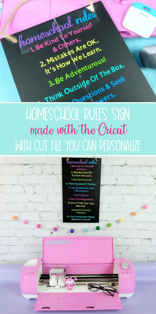 Make a personalized Cricut Homeschool Rules Sign with this fun craft tutorial. Personalize with your family's own rules to make a beautiful keepsake wood homeschool rules sign with your Cricut Maker, Cricut Explore Air 2 or Cricut Joy! #CricutCreated #CricutMade #Homeschool #CricutCrafts #HomeschoolCrafts #Homeschoolrules #woodsign #vinyl