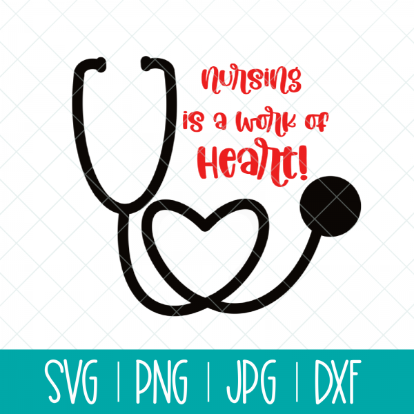 Make a DIY nurse gift using this Nursing Is A Work Of Heart SVG Cut File and your Cricut, Silhouette or other electronic cutting machine. Makes a great gift for someone graduating from nursing school! #Nursing #Nurse #SVG #CutFile #SVGCutFile #Cricut #Silhouette #CricutMade