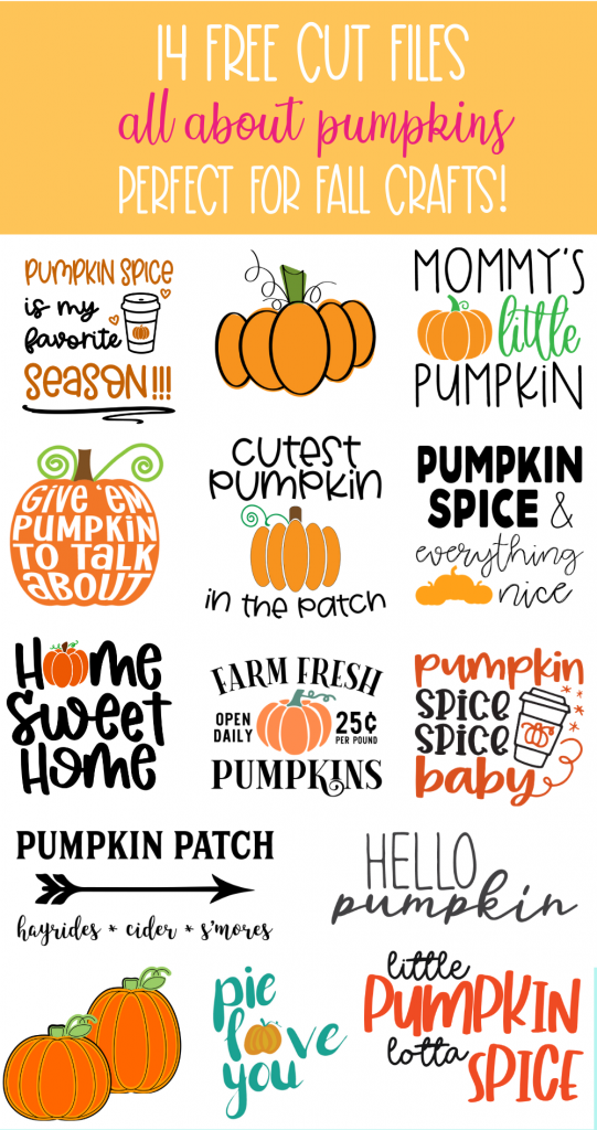 Get started with fall crafting with your Cricut or Silhouette! Here's 14 free pumpkin SVG Cut Files that you can use for autumn crafts! From Pumpkin Spice, to Pumpkin Patch decor to Pumpkin Maternity Shirts-- We've got you covered! #Fall #Autumn #Crafts #SVGFiles #CutFiles #Cricut #Silhouette #CricutCreated #CricutMade #handmade #Halloween #PumpkinCrafts #PumpkinSpice