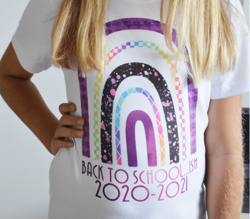 Rainbow Back To School-ish Shirt Made with Cricut Infusible Ink from Our Thrifty Ideas