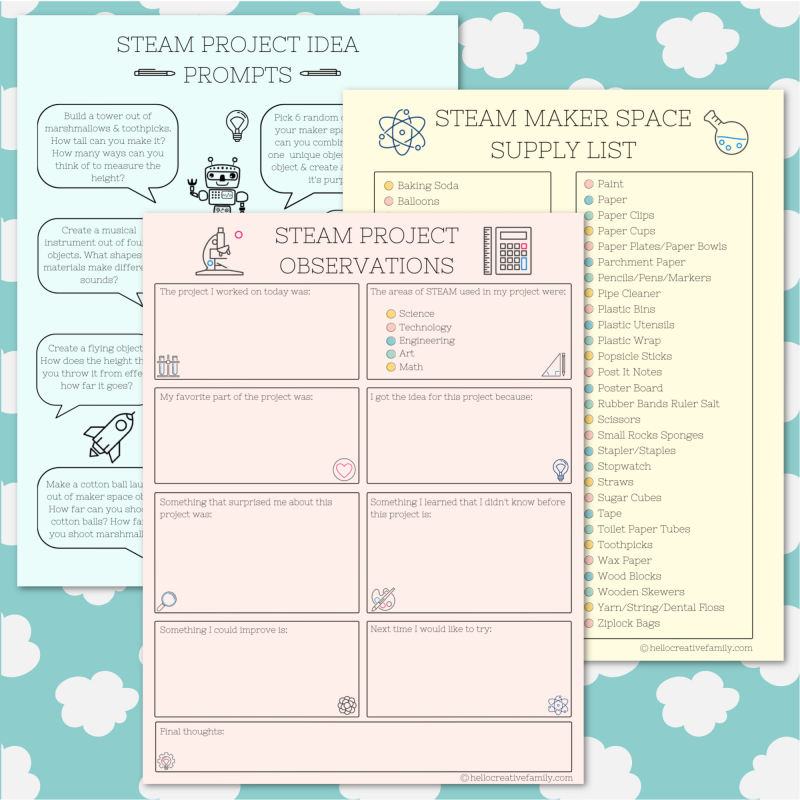 We're sharing 16 Free STEM and STEAM Worksheets and Printables perfect for kids learning at home. Includes a Maker Space Supply List, STEAM Project Prompts and STEAM Project Observations Worksheet. Perfect for homeschooling and distance learning. #STEAM #STEM #Printable #Worksheet #Homeschooling #Science #MakerSpace #ObservationSheet