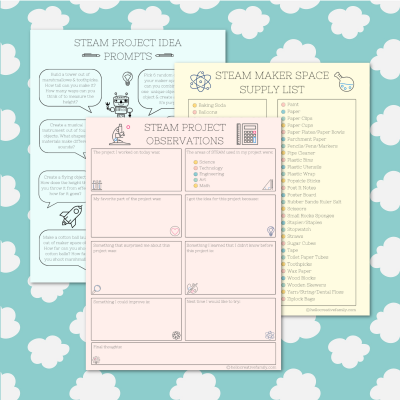 We're sharing 16 Free STEM and STEAM Printables perfect for kids learning at home. Includes a Maker Space Supply List, STEAM Project Prompts and STEAM Project Observations Worksheet. Perfect for homeschooling and distance learning. #STEAM #STEM #Printable #Worksheet #Homeschooling #Science #MakerSpace #ObservationSheet