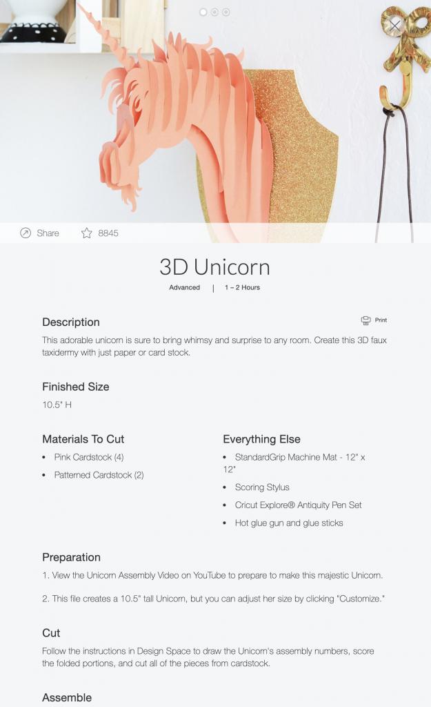 Cricut 3d unicorn