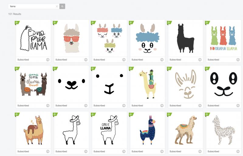 Cricut Access Llama designs