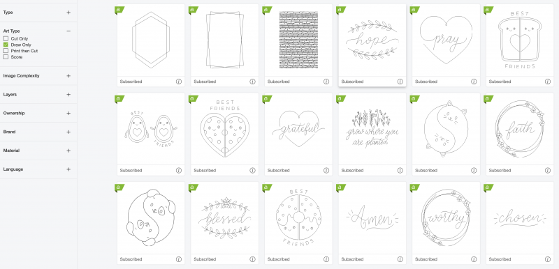 Cricut Access Draw only designs