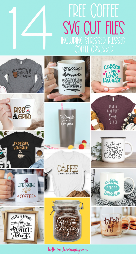 We're sharing 14 Free Coffee SVG Files! Use these cut files to make handmade gifts for coffee lovers including mugs, shirts, tote bags and more using your Cricut or Silhouette! #Coffee #CoffeeLover #SVG #CutFile #FreeSVG #Cricut #Silhouette #CricutCreated