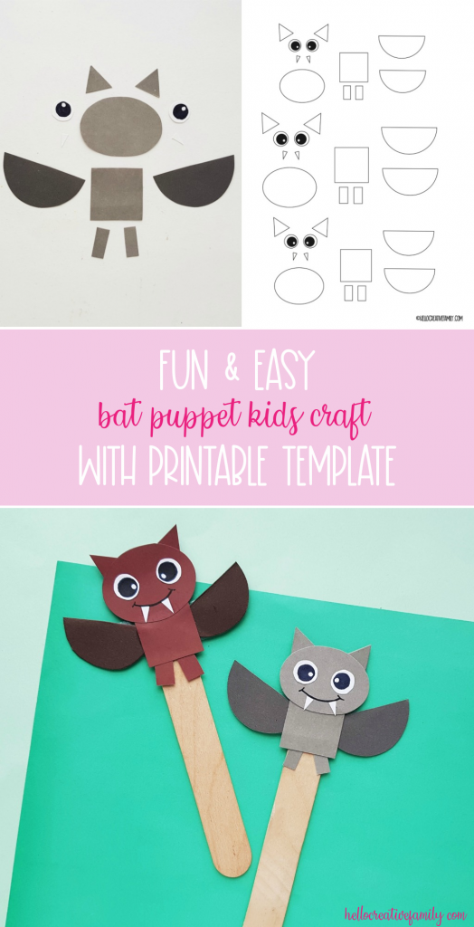 This fun and easy DIY bat puppet comes with a free printable template! Perfect for an enrichment project for  grade 1 and 2 science on bats! Great for homeschool curriculum or Halloween fun! #Bats #Printable #kidscrafts #handmade #crafts #Papercrafts #homeschool #science #grade1 #grade2