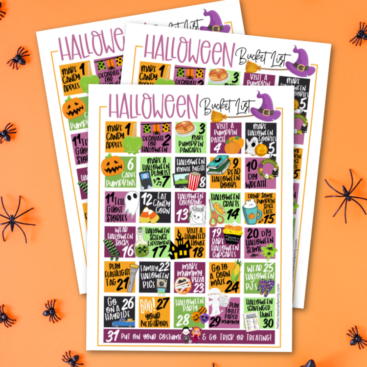 This free Halloween Activities Calendar printable is packed full of 31 days of Halloween Fun! From Halloween science experiments to pumpkin pancakes to spooky flashlight tag we've got your Halloween Bucket List covered with a ton of family fun! #BucketList #Halloween #Printable #HalloweenActivities #FreePrintable #halloweenparty #october #calendar