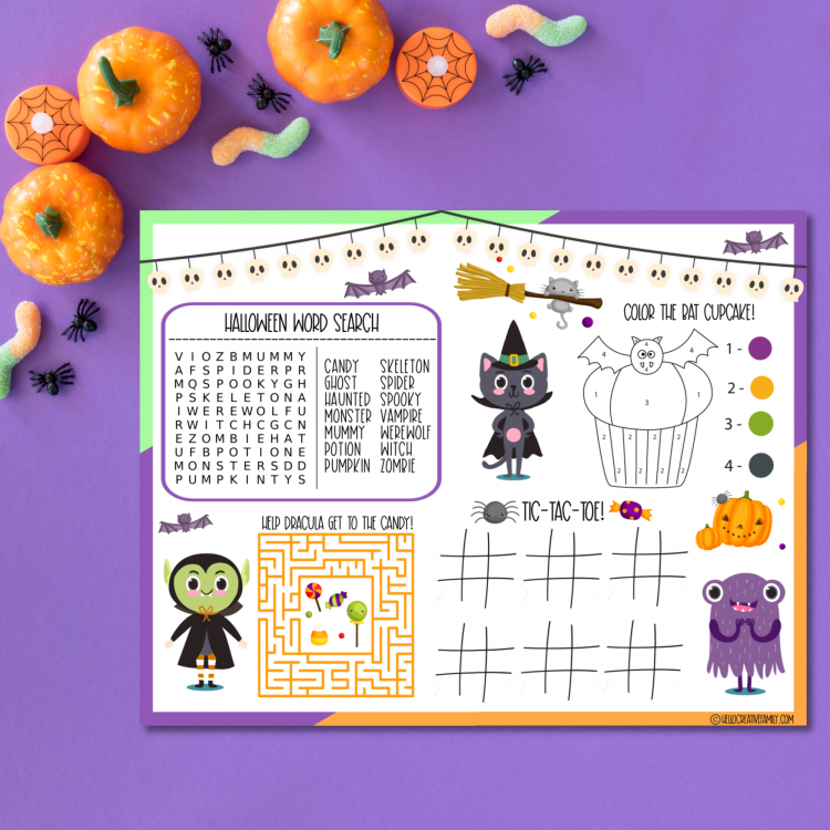 Get ready for some Halloween fun with 18 free Halloween Printables including a Halloween Activity Placemat! Download these kids activities and print them all! These activity sheets are perfect for homeschooling and Halloween parties! #Halloween #printables #Activities #kidsactivities #activitysheet #homeschooling #homeschool #wordsearch #coloring
