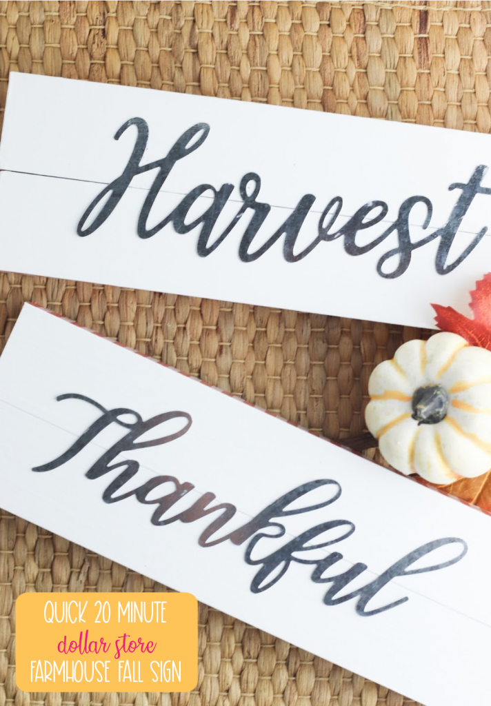 Make a pretty farmouse fall sign craft using item from the dollar store in just 20 minutes with this easy craft tutorial! Buy the metal words or cut them from vinyl using your Cricut cutting machine! With the words Harvest and Thankful on these farmhouse signs they are perfect for Thanksgiving decor ideas! #DollarStoreCrafts #cricutcreated #FallCrafts #FallDecor #Thanksgiving #thanksgivingcrafts #Thanksgivinddecor #Farmhousesign #Farmhousedecor