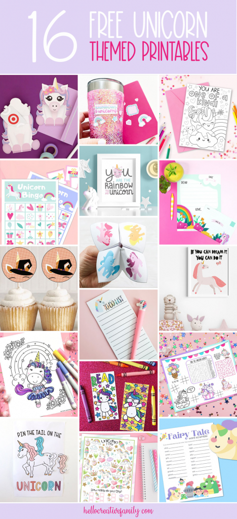 Let the magic begin! Find 16 free unicorn printables including a unicorn activity placemat that is perfect for unicorn birthday parties! The ultimate printable collection for unicorn lovers! #UnicornCrafts #Crafts #Printables #FreePrintables #Sparkles #Rainbow #Homeschool #unicornparty #unicornbirthday
