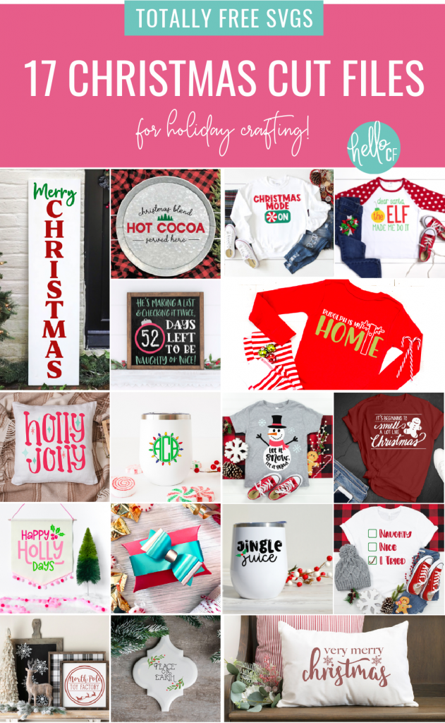 "Want to make handmade gifts using your Cricut or Silhouette? We've got you covered! Download 17 free Christmas cut files from your favorite craft bloggers including ""Naughty, Nice, I Tried"" and an adorable "" Let It Snow"" Snowman! We're making handmade gift giving easy! #ChristmasCrafting #Handmadegifts #CricutCrafts #CricutCreated CricutMade #CricutChristmas #ChristmasCutFiles #ChristmasSVG #NaughtyorNice #DIY #Craft"