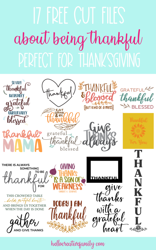 We're sharing 17 free cut files that are all about being thankful including a Thankful Mama SVG File! Perfect for Thanksgiving or anytime you want to show a bit of gratitude! These cut files can be used for crafting with your Cricut Maker, Cricut Explore, Cricut Joy or Silhouette Cameo! #Thankful #ThankfulMama #CutFile #SVG #FreeSVG #Thanksgiving #CricutCrafts #Handmade #mom #momlife