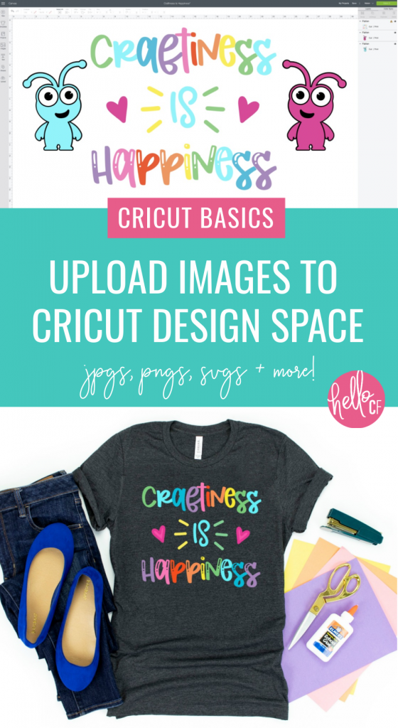 Are you a Cricut Beginner? Check out Hello Creative Family's Cricut Basics series! This free lesson will teach you how to upload cut files to Cricut Design Space including jpgs, svg files, pngs and more! Learn to use your Cricut like a pro! #CricutCreated #CricutMade #Cricut #CricutTutorial #CricutDesignSpace #Crafting #Tutorial