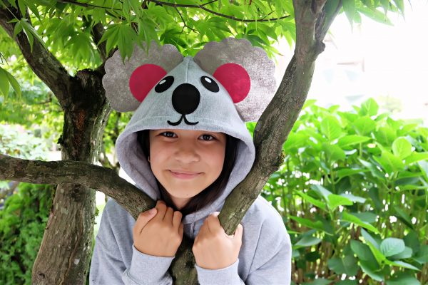 Looking for a quick and easy Halloween costume idea? This Easy 15 Minute No Sew Koala Halloween Costume is made using a hooded sweatshirt, felt and a glue gun! Includes a free template and an SVG file to cut with your Cricut or other electronic cutting machine! #koala #Halloween #NoSewCostume #handmade #Cricut #CricutMade #CricutCreated #CricutHalloween