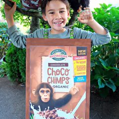 Make a cereal box costume using materials that you already have on hand including a cardboard box, glue from a glue gun and ribbon! Our costume features the adorable Choco Chimps cereal box! A fun, adorable and environmentally friendly halloween costume idea! #Halloween #Chimp #HalloweenCostume #DIYCostume #Handmade #Cereal