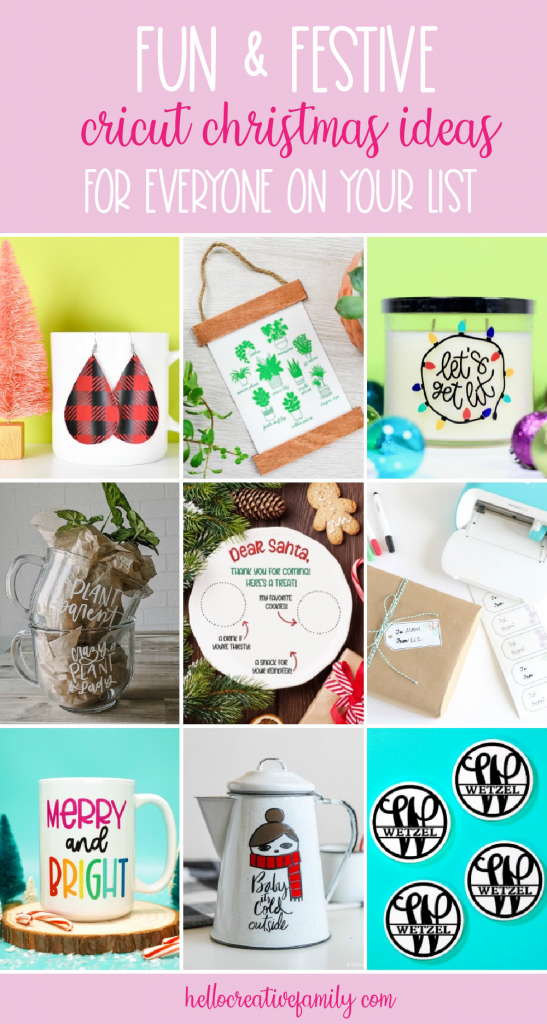 Discover 9 free Cricut Christmas Crafts from some of your favorite craft bloggers! These ideas make easy DIY handmade gift ideas that everyone on your Christmas list will love! #CricutChristmas #Handmade #CricutMade #CricutCreated #ChristmasGift #ChristmasCraft #Christmas #SantaPlate #Santa #SantaCrafts