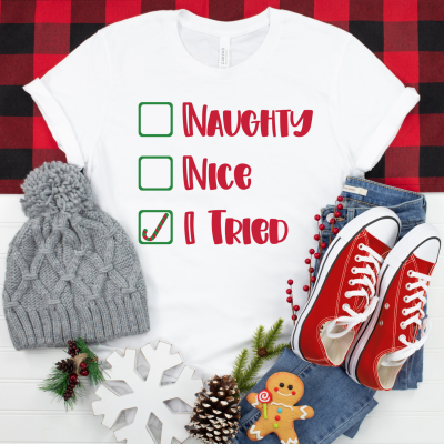 He's making a list and checking it twice! Get this adorable Naughty, Nice, I Tried SVG File along with 17 Free Christmas Cut Files from our creative friends! Perfect for handmade holiday gifts using your Cricut Maker, Cricut Explore, Cricut Joy or SIlhouette Cameo! #ChristmasCrafting #Handmadegifts #CricutCrafts #CricutCreated CricutMade #CricutChristmas #ChristmasCutFiles #ChristmasSVG #NaughtyorNice #DIY #Craft