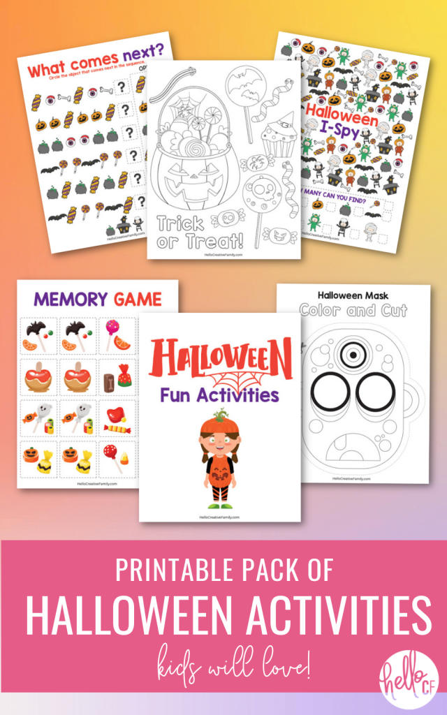 Enjoy hours of Halloween fun with our 8 page Halloween Printables Activity Pack For Kids! Contains Halloween Coloring Sheets, Match Game, I-Spy, Complete the Pattern and even a mask that you can color in and cut out! Perfect for a Halloween Classroom Activity or a Halloween Party! #Halloween #HalloweenPrintables #HalloweenColoringSheet #HalloweenGames #Printables #FreePrintables #KidsActivities #homeschoolworksheets