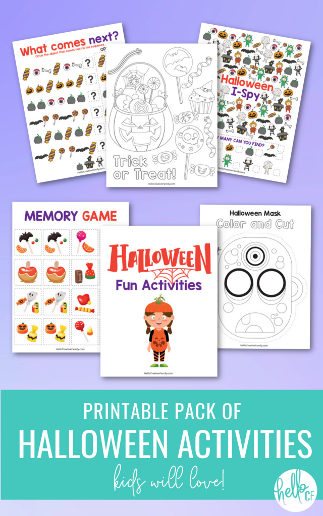 Enjoy hours of Halloween fun with this 8 page Printable Pack of Halloween Activities Kids Will Love! Contains Halloween Coloring Sheets, Match Game, I-Spy, Complete the Pattern and even a mask that you can color in and cut out! Perfect for a Halloween Classroom Activity or a Halloween Party! #Halloween #HalloweenPrintables #HalloweenColoringSheet #HalloweenGames #Printables #FreePrintables #KidsActivities #homeschoolworksheets