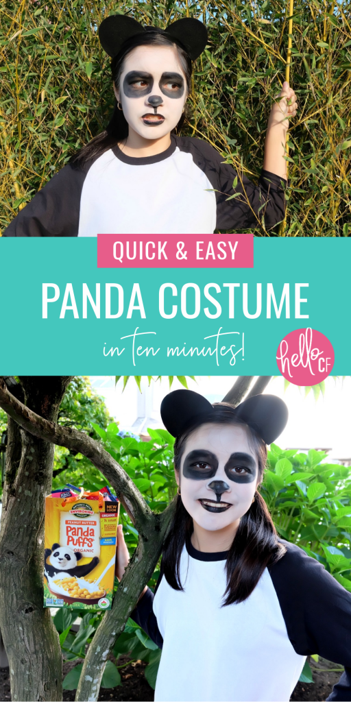 Looking for a last minute Halloween Costume Idea? This DIY Panda Costume takes 10 minutes to throw together and costs $10 or under to make! It can easily be worn by teens, tweens, parents or kids and all the pieces are reusable! Happy Halloween! #Halloween #HalloweenCostume #TeenCostume #TweenCostume #ParentCostume #DIYCostume #Panda #PandaCostume #handmade #EasyCostume #10minuteproject