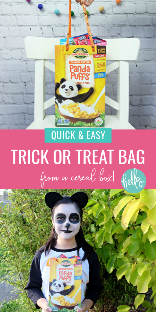Can't find last year's trick or treat bag? DIY your own with an empty cereal box! This Halloween Craft takes less than 5 minutes to make and you'll have a cute and sturdy Trick or Treat Container that you can recycle when you're done with! #Halloween #DIYHalloween #RecycledCrafts
