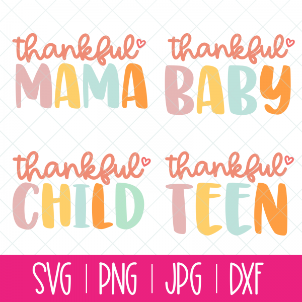 Create adorable Mommy and Me shirts with the svg cut files in this adorable bundle! Includes Thankful Mama, Thankful Baby, Thankful Child and Thankful Teen! Perfect for Thanksgiving or when you want to make a craft that celebrates gratitude! Use with your Cricut or Silhouette! #CutFile #SVG #Thankful #Cricut #Silhouette #CricutMade