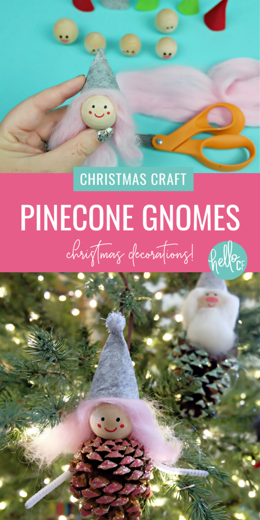 These sweet little DIY Forest Gnome Pinecone Christmas Ornaments are so FUN and look super cute hanging from the tree! A fun family Christmas craft project using pinecones you can find on a nature walk! Pinecone crafts  are festive for both fall and Christmas! #ChristmasCrafts #PineconeCrafts #DIY #Crafts #FamilyCrafts #KidsCrafts #Pinecones #Christmas #Gnomes #ChristmasGnomes #ChristmasElves #FeltCrafts #kidscrafts