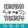 Crafting makes me super happy. DIY an awesome craft project with this Crafting Is My Therapy SVG Cut File! Use with your Cricut, Silhouette or other electronic cutting machine to make DIY shirts, mugs, tote bags and more! #Crafting #CraftingIsMyTherapy #Cricut #Silhouette #CricutMaker #CricutExplore #CuttingMachine #CricutCrafts #DIYShirt #SVG #SVGFile #CutFile