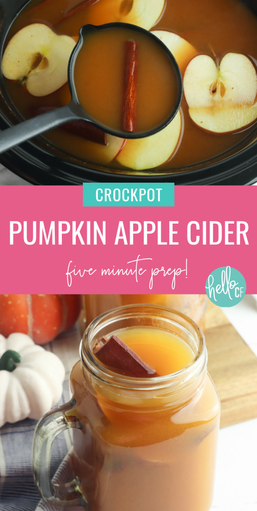 You've tried a pumpkin spice latte, but have you tried pumpkin spice apple cider? This easy crockpot recipe takes just 5 minutes of prep. Let it simmer in your slow cooker or instant pot and smell the scents of cinnamon, apple and nutmeg fill your home! The yummiest fall beverage you could ever imagine! Drink it all winter long! #Cider #Recipe #applecider #pumpkinspice #crockpotdrink #crockpot #slowcooker slowcookerrecipe