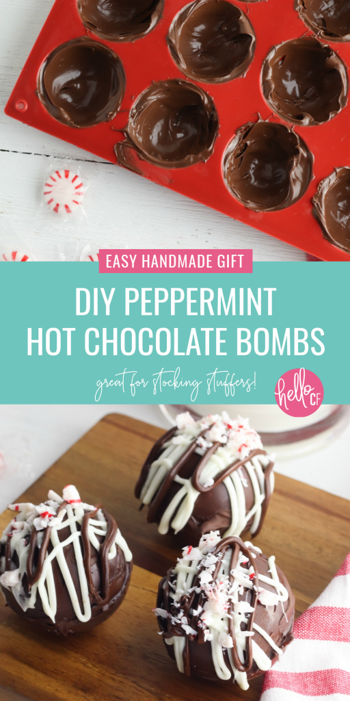 Learn how to make the best DIY Peppermint Hot Chocolate Bombs with this easy tutorial! This recipe is easy to make, fun to drink and makes a great handmade stocking stuffer or Christmas gift that everyone will love! #Peppermint #HotChocolate #Recipe #ChristmasRecipe #FoodGift #Handmade #handmadegiftidea