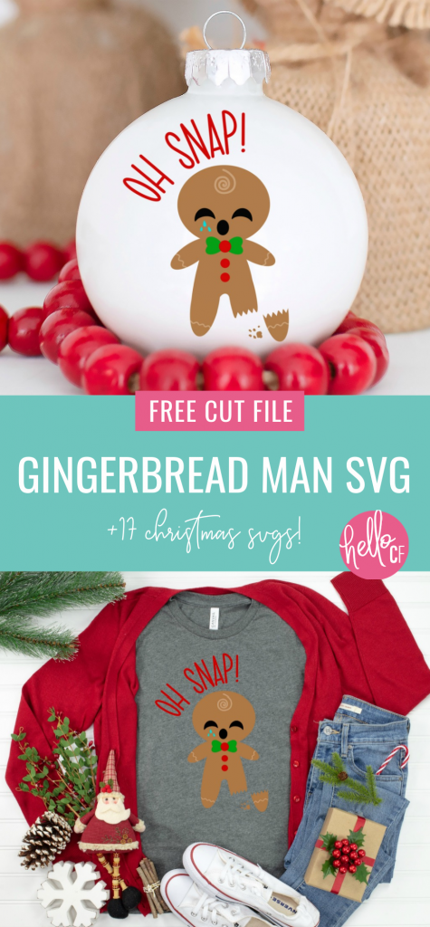 Download a free Oh Snap Gingerbread Man SVG File along with 17 free Christmas Ornament Cut Files! Use for Christmas crafting with your Cricut Maker, Cricut Explore Air, Cricut Joy or Silhouette Cameo to make handmade gifts for Christmas or DIY Ornaments to trim your Christmas tree! #ChristmasCrafting #ChristmasOrnaments #DIYOrnaments #DIYChristmas #ChristmasGnome #Gnome #SVGFiles #CutFilles #FreeSVG #CricutChristmas #CricutMade #CricutCreated