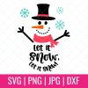 Make festive winter crafts with this fun Let It Snow Snowman cut file. Perfect for making handmade gifts including mugs, shirts and throw pillows using your Cricut, Silhouette or other electronic cutting machine! #CricutChristmas #Cricut #Silhouette #Handmade #SVGFile #CutFile #ChristmasSVG #ChristmasCrafts #ChristmasCrafting #Snowman #letitsnow