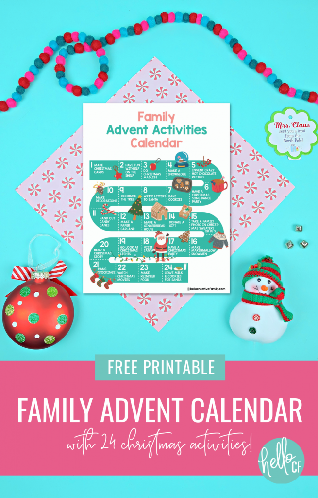 Count down to Christmas with fun holiday family activities using this free printable family advent calendar! Includes a filled in calendar with 24 fun Christmas themed ideas and a blank advent calendar that you can fill in yourself! Fun for all ages! #Printables #ChristmasPrintables #AdventCalendar #printablecalendar #christmasactivities #ChristmasCrafts