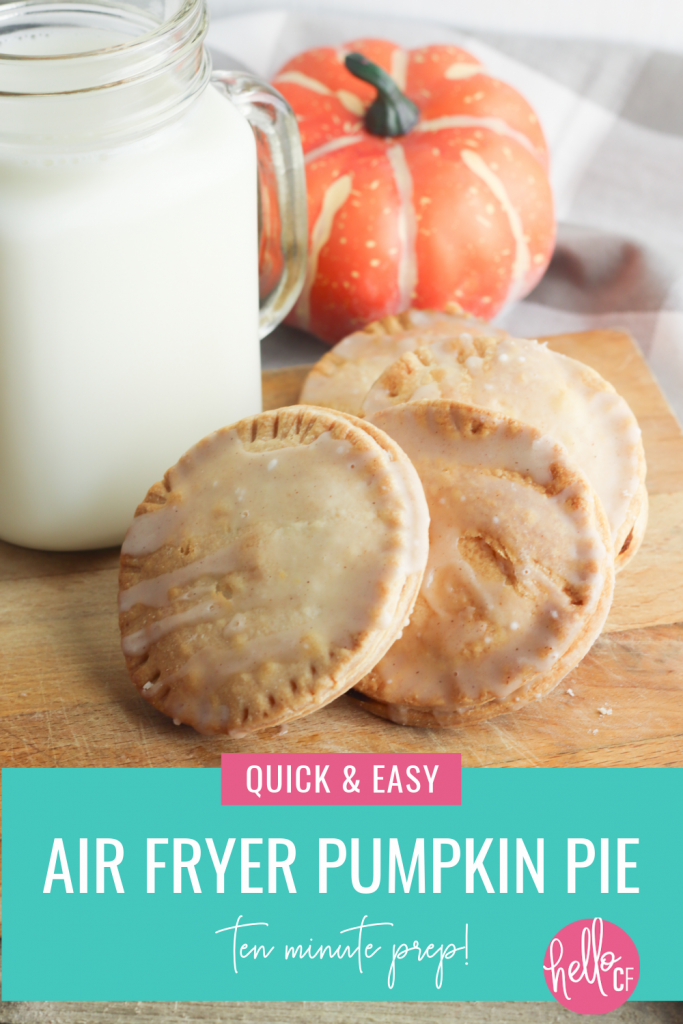 Make beautiful mini hand pies in minutes with this Air Fryer Pumpkin Pies Recipe! 10 minutes of prep is all it takes to make this delicious dessert that's perfect for Thanksgiving! #PumpkinPie #AirFryerRecipe #airfryer #recipe #autumn #fallrecipes #homemade #pie #pumpkin #pumpkinrecipe #pumpkinpie